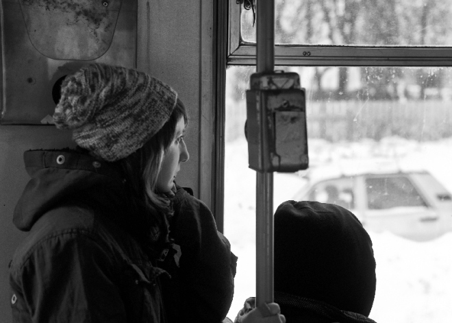 beautifull girl dreaming in a tram
