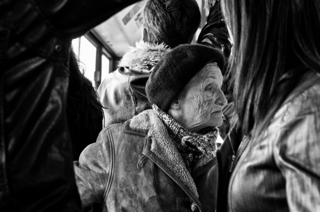 old woman in public transport
