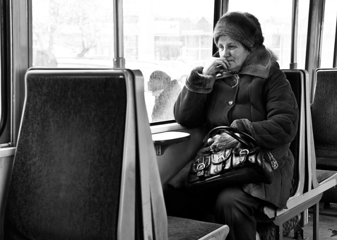 woman in public transport