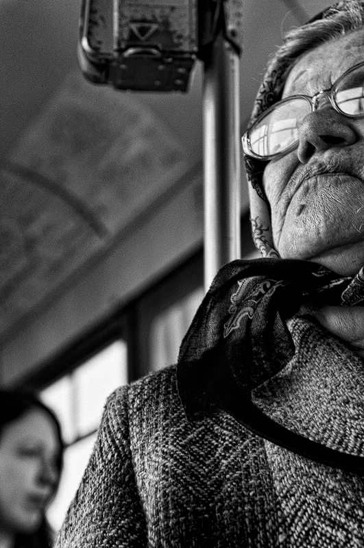old woman in tram